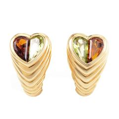 Bulgari Doppio Tondo Citrine Peridot Gold Heart Earrings