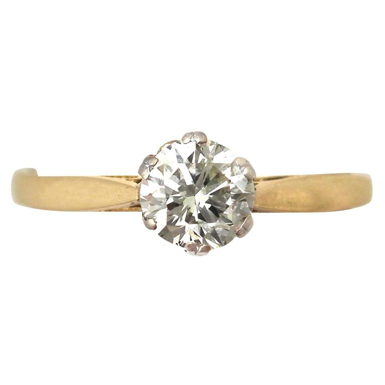 1980s 0 79 Carat Diamond And 18k Yellow Gold Solitaire Ring For