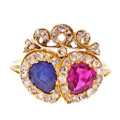 Victorian Ruby Sapphire Diamond Gold Crown Ring