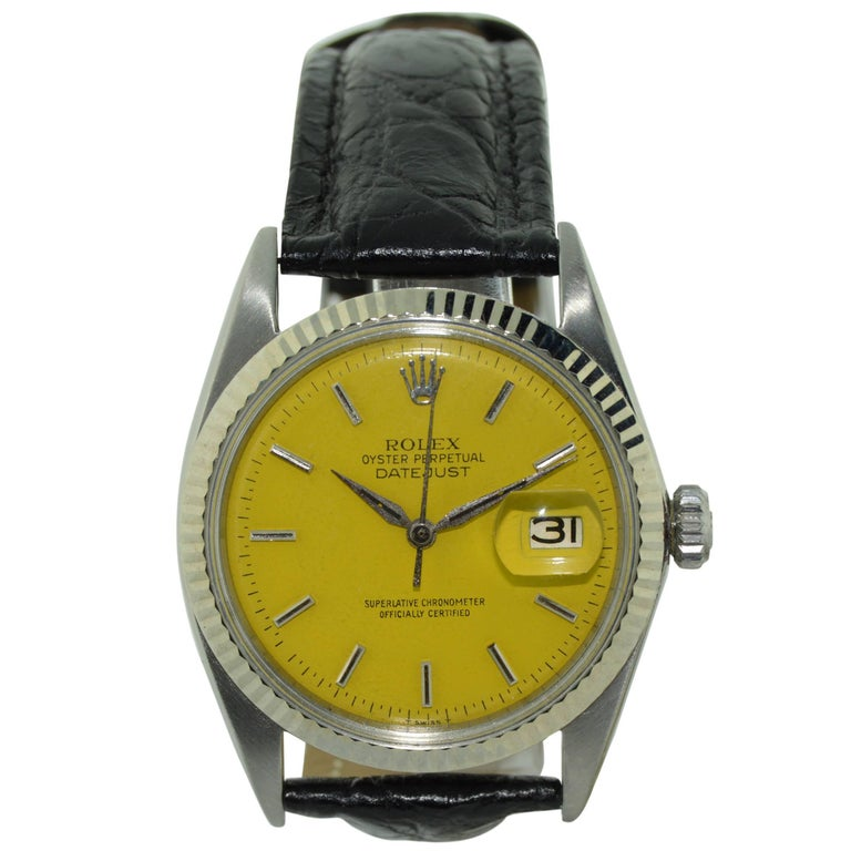 Rolex Yellow Stainless Steel Datejust Automatic Watch Ref 1601, Mid 1960's  For Sale