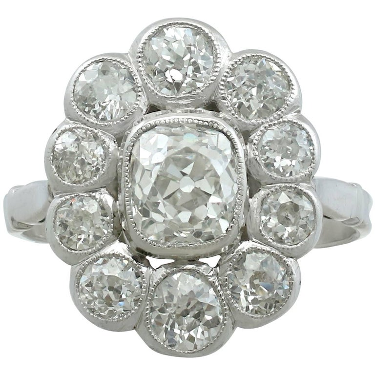 3.07 Carat Diamond and Platinum Cluster Ring