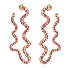 Sabine Getty Pink Topaz Wiggly Deflated Hoop Earrings