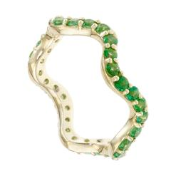 Sabine Getty Green Topaz Gold Wiggly Band Ring