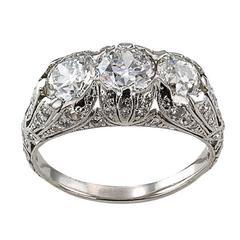 Edwardian Three Stone Diamond Platinum Engagement Ring