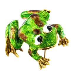 1960s Martine Green Enamel Gold Frog Brooch