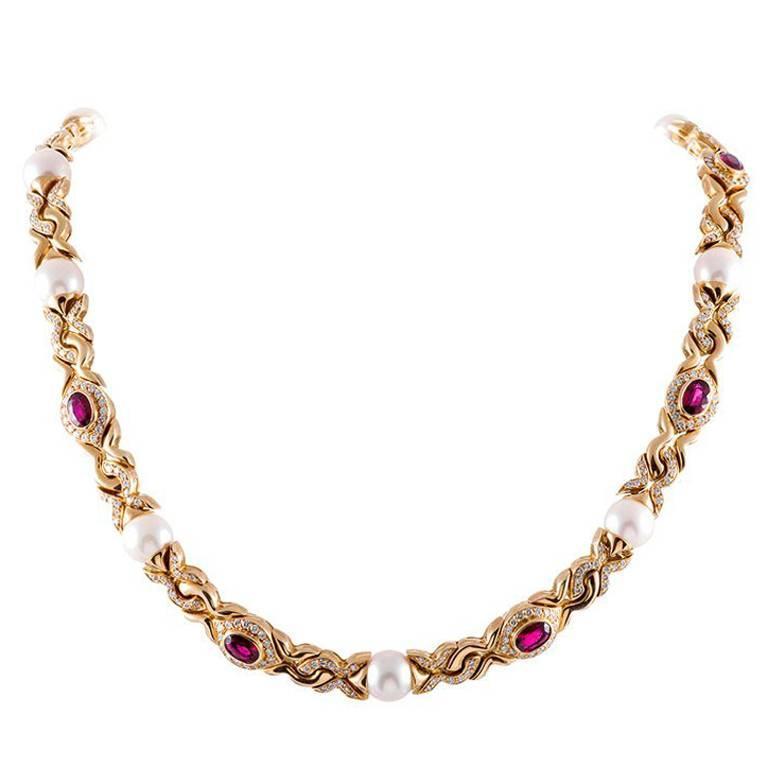 Bulgari Pearl Ruby Diamond Necklace