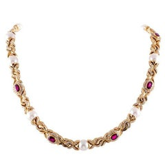 Bulgari Pearl Ruby Diamond Necklace