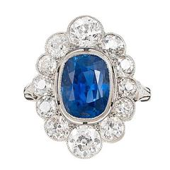 AGL Certified 5.32 Carat UNTREATED Sapphire Diamond Platinum Edwardian Ring