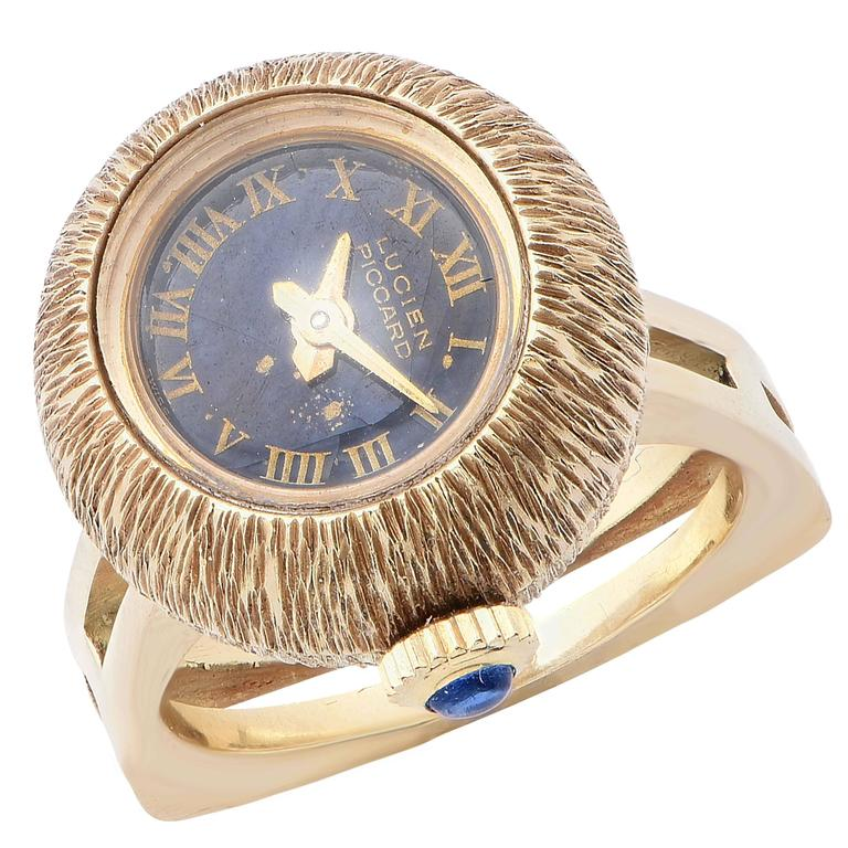 Lucien Picard Ladies Yellow Gold Manual Wind Ring Watch