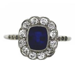 Antique Sapphire Old European Cut Diamonds Platinum Halo Ring