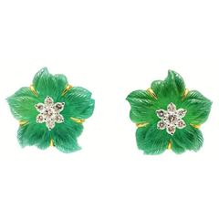 Seaman Schepps ​Rock Crystal Chrysoprase Diamond ​Gold Clematis Earrings