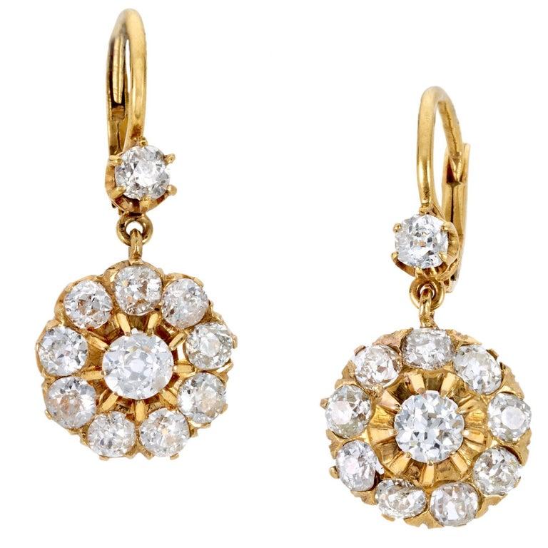 Late Victorian Diamond Cluster Earrings