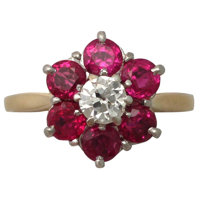 1.45Ct Ruby & 0.41Ct Diamond, 18k Yellow Gold Dress Ring - Antique & Vintage 1