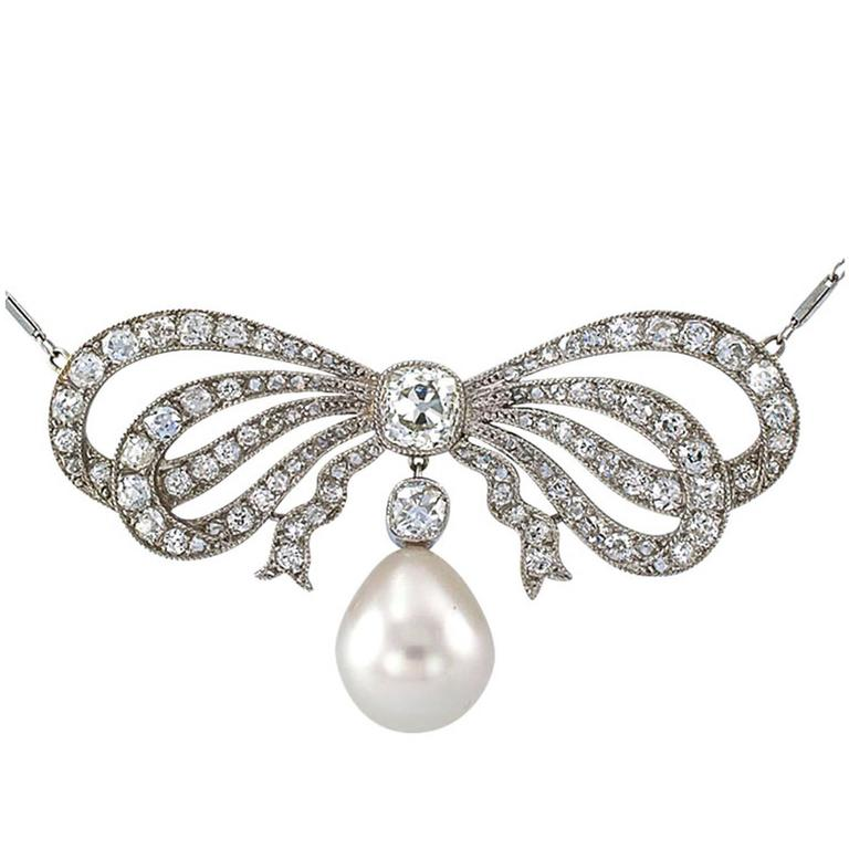 Edwardian South Sea Pearl Diamond Gold Bow Necklace For Sale