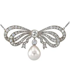 Edwardian South Sea Pearl Diamond Gold Bow Necklace
