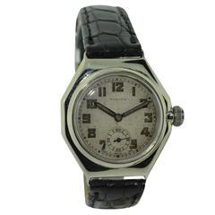 Rolex Nickle Silver Oyster Octagon Radium Dial Wristwatch Ref 2136