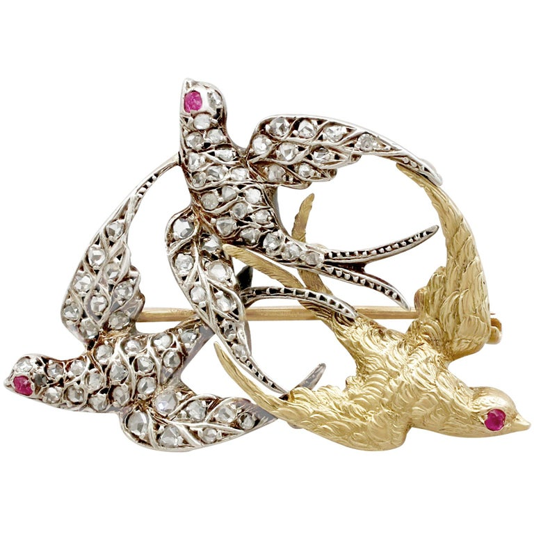 Victorian Diamond and Yellow Gold Silver Set Swallow Brooch