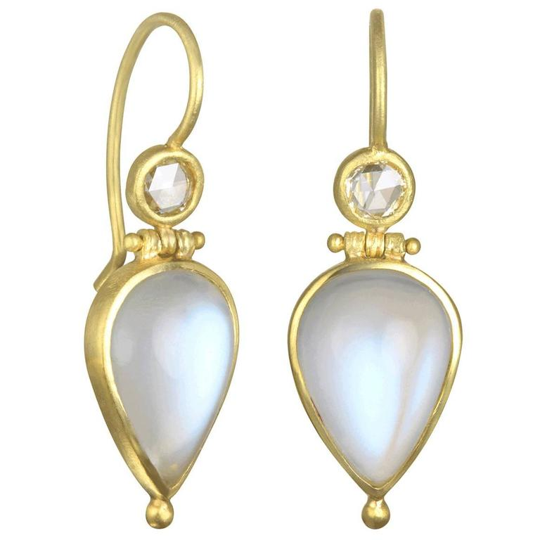 Faye Kim African Teardrop Moonstone Diamond Hinge Earrings 1