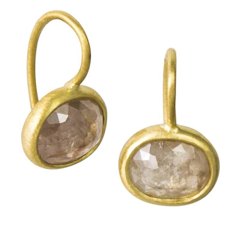 Faye Kim Milky Rose Cut Diamond Gold Bezel Drop Earrings