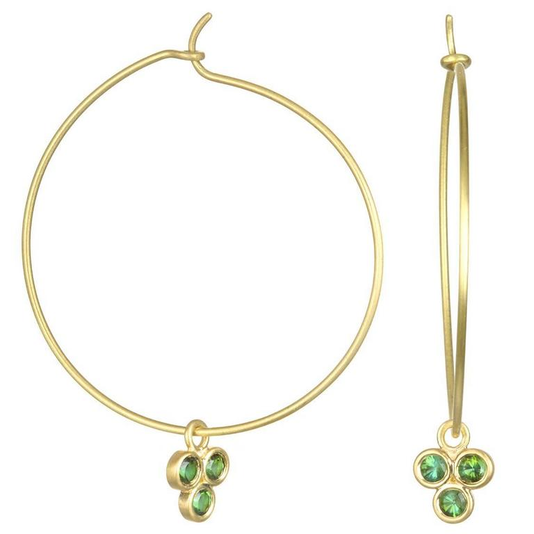 Triple Green Tourmaline Drops on Gold Hoop Earrings