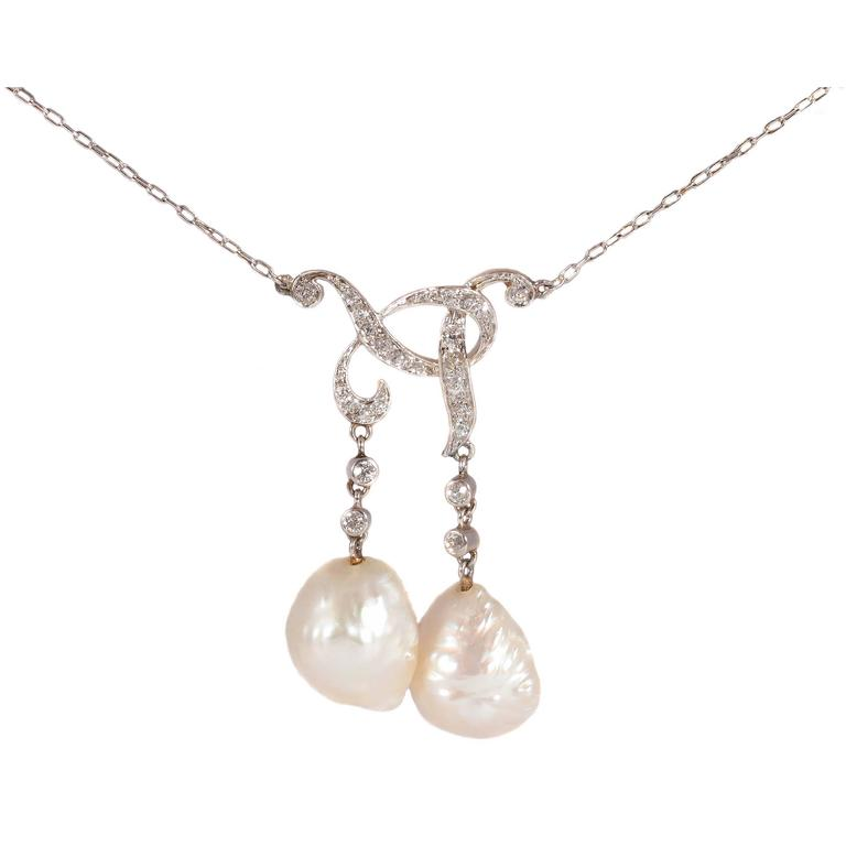 Tiffany & Co. GIA Certified Natural Pearl Diamond Gold Platinum Necklace For Sale