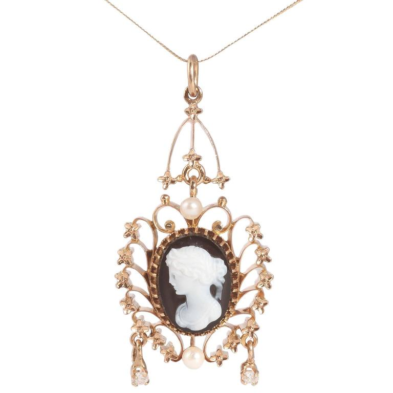 Pearl Onyx Diamond Cameo Two Color Gold Pendant