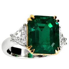 8 Carat Colombian Emerald Diamond Three-Stone Engagement Ring