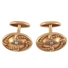 Art Nouveau Diamond Gold Cufflinks