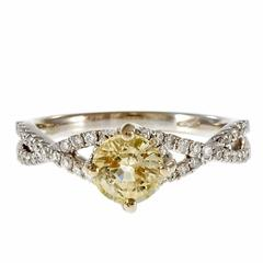 Natural Light Yellow Sapphire Diamond Gold Engagement Ring