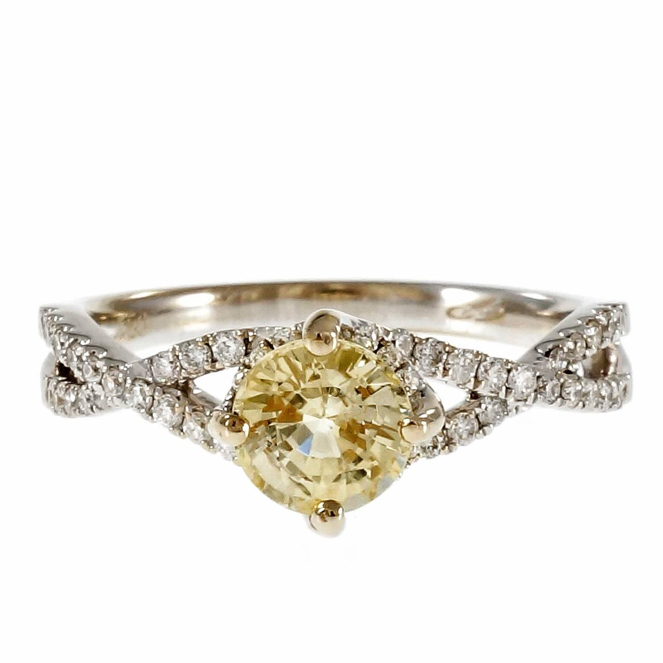 light yellow sapphire gold engagement ring