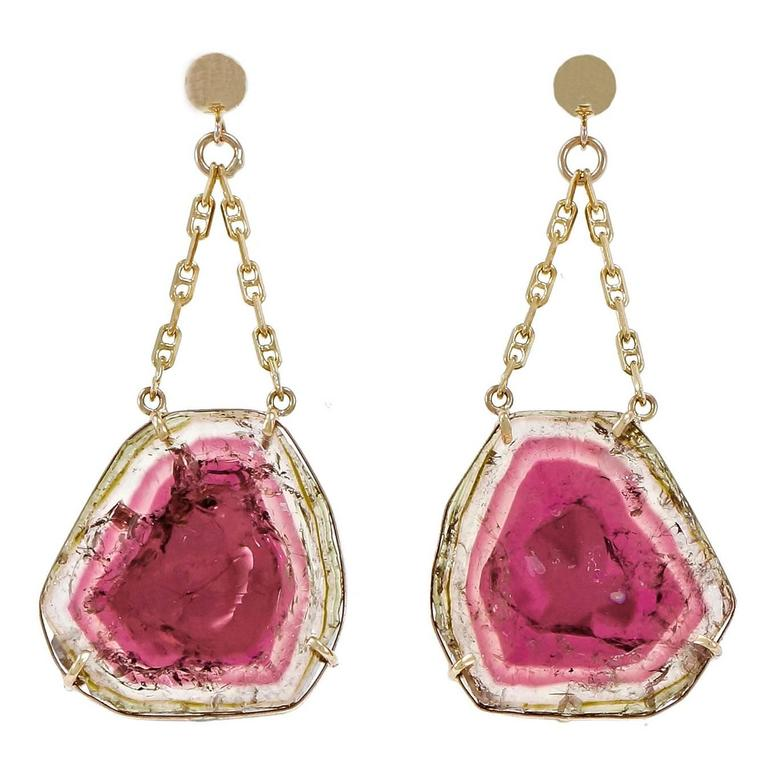 Peter Suchy Tourmaline Watermelon Gold Dangle Earrings