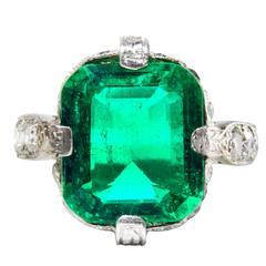 3.95 Carat Untreated Colombian Emerald Diamond Platinum Ring