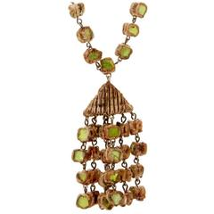 Line Vautrin Necklace with Multi Strand Talosel and Mirror Fragment Pendant