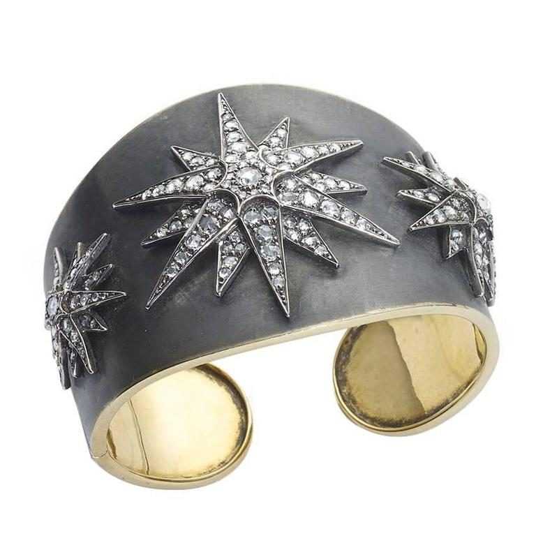 Diamond Silver Gold Stars Cuff Bangle Bracelet