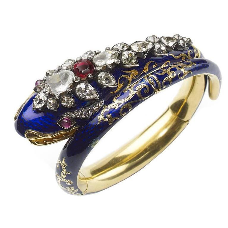 Antique Blue Enamel Garnet Ruby Diamond Gold Snake Bangle Bracelet