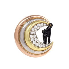 Retro Three-Color Gold, Diamond, and Enamel Cat and Moon Brooch