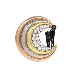 Retro Enamel Diamond Gold Cat and Moon Brooch