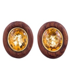 Wood Citrine Yellow Gold Earrings