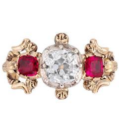 Victorian Cushion Cut Diamond Ruby Three Stone Gold Ring