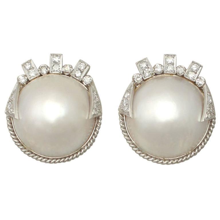 Mabe Pearl 0 78ct Diamond 9k White Gold Earrings Art Deco Style