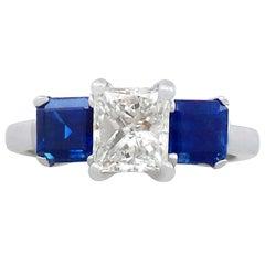 1980s 1.11 Carat Diamond and Sapphire Platinum Trilogy Ring