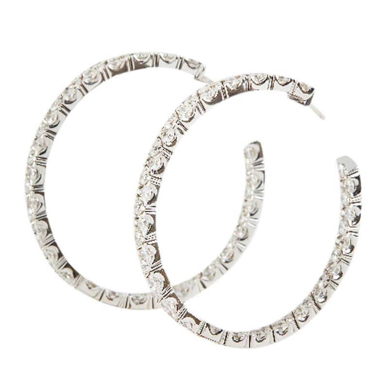 Garavelli Diamond Gold Hoop Earrings