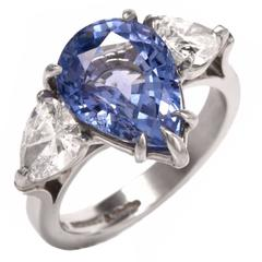 Ceylon No Heat Diamond Platinum Three-Stone Ring