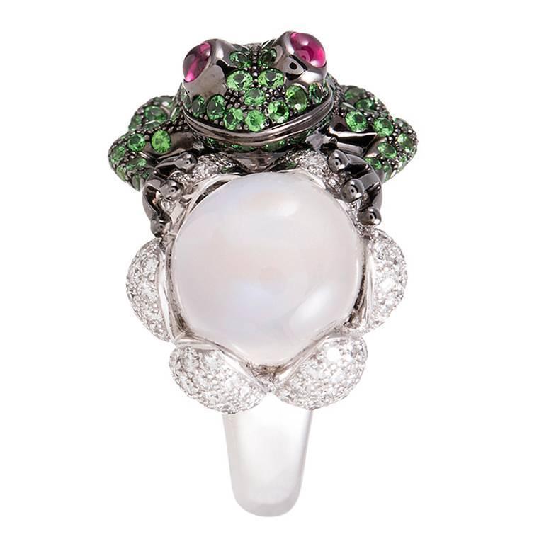 Boucheron Moonstone Garnet Diamond Gold Frog Ring at 1stdibs