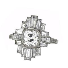 Art Deco Geometric 1.84 Carat Cushion and Baguette Diamonds Platinum Ring
