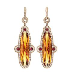 Orange Citrine Diamond Gold Earrings