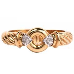 High Polish Diamond Gold Bangle Bracelet