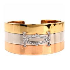 Diamond Three Color Gold Wide Cuff Bangle Bracelet