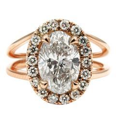 GIA Certified 1.04 Carat Oval Diamond Halo Split Shank 18K Rose Gold Ring