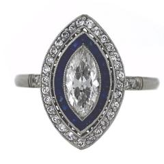 Marquise Old European Diamonds Sapphires Platinum Ring